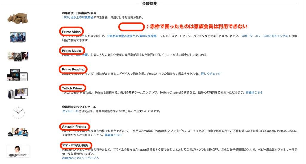 amazonプライム家族会員が利用できない特典