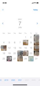 月間カレンダー表示