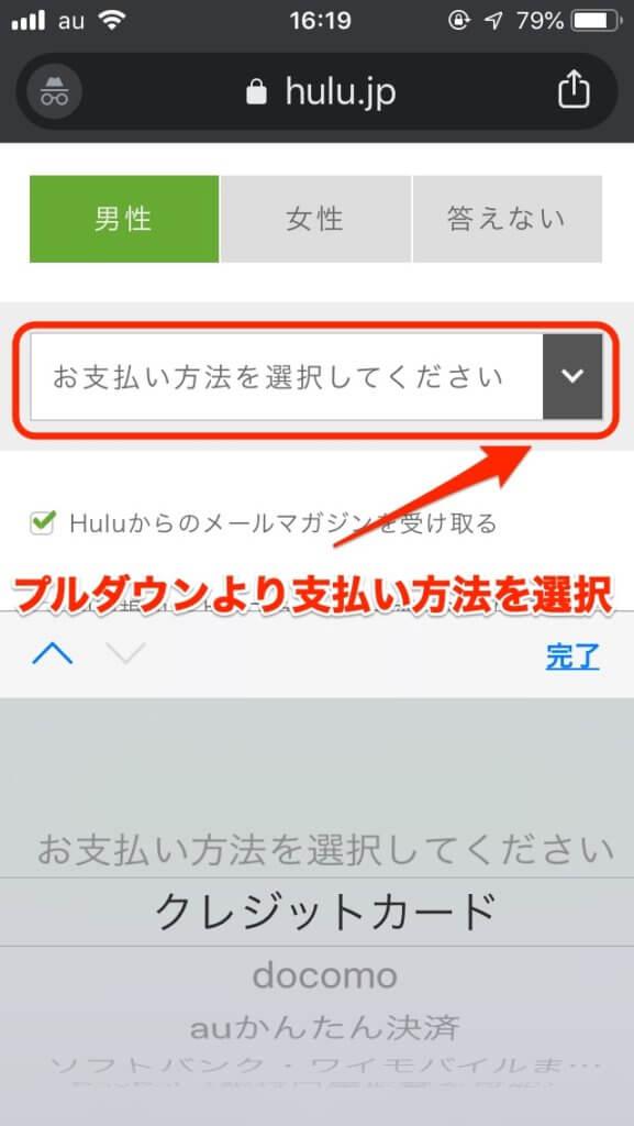 huluの支払い方法選択